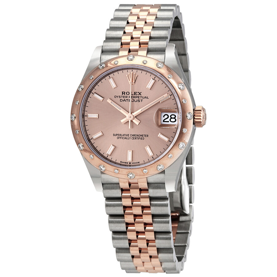 DateJust 31 Rose Dial Automatic Ladies Stainless Steel 18kt Everose Gold Jubliee Watch 278341PSJ