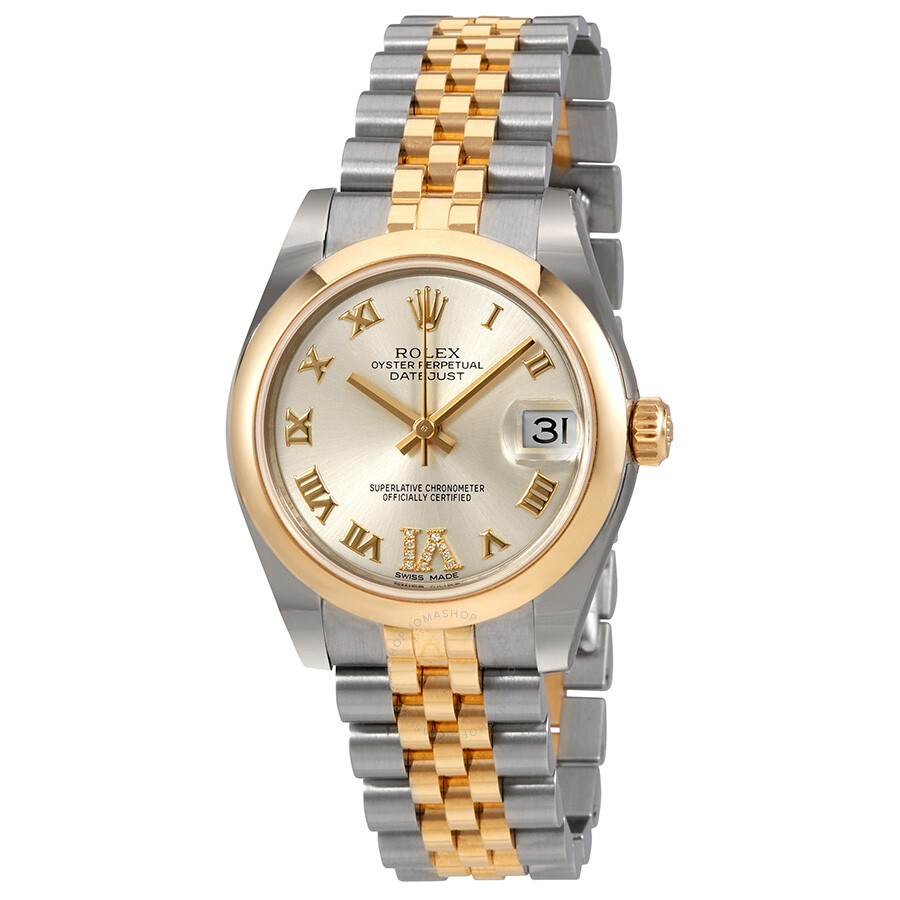 Rolex datejust 31 silver dial steel and 18k yellow gold ladies watch 178243srdj datejust lady for Rolex date just 31