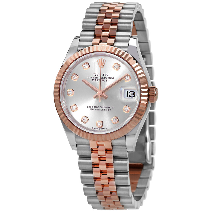 Rolex Datejust 31 Silver Diamond Dial Automatic Ladies Steel and 18kt  Everose Gold Jubilee Watch 278271SDJ
