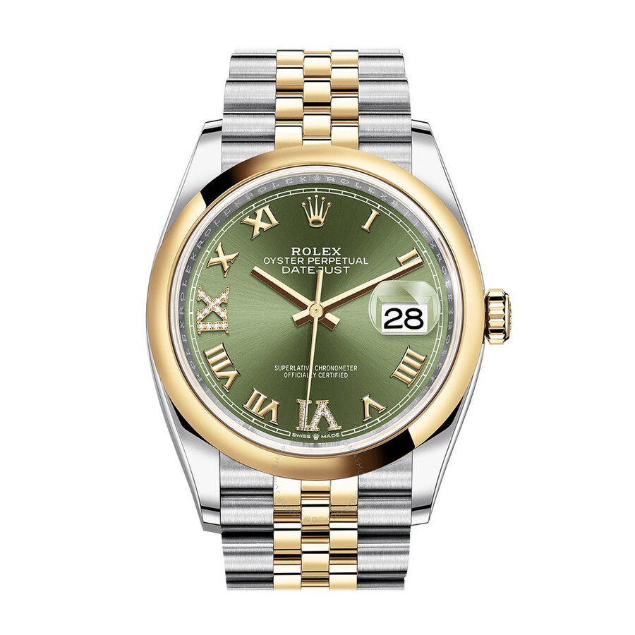 Rolex Datejust 36 Automatic Olive Green Dial Men\u0027s Steel and 18k Yellow  Gold Jubilee Watch 126203GNRDJ