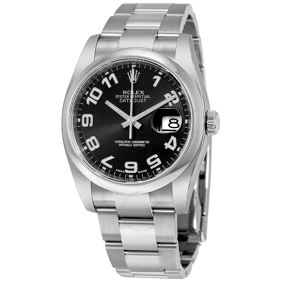 Rolex datejust 36 black concentric circle dial stainless steel oyster bracelet automatic men 39 s for Rolex date just 36