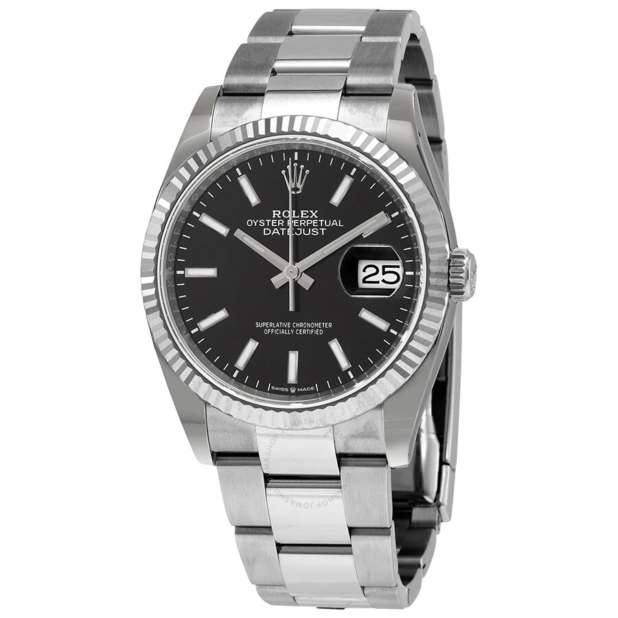 Rolex Datejust 36 Black Dial Automatic Men\u0027s Oyster Watch 126234BKSO