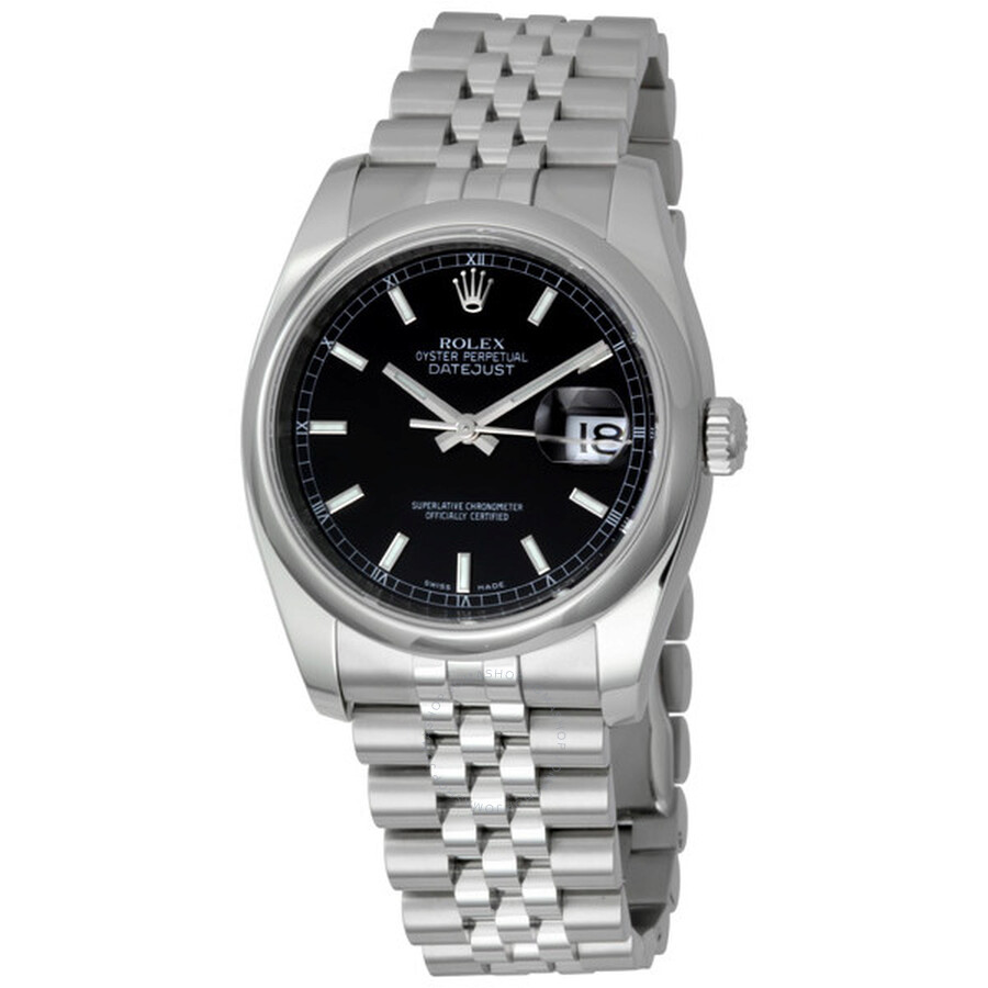 Rolex datejust 36 black dial stainless steel jubilee bracelet automatic men 39 s watch 116200bksj for Rolex date just 36
