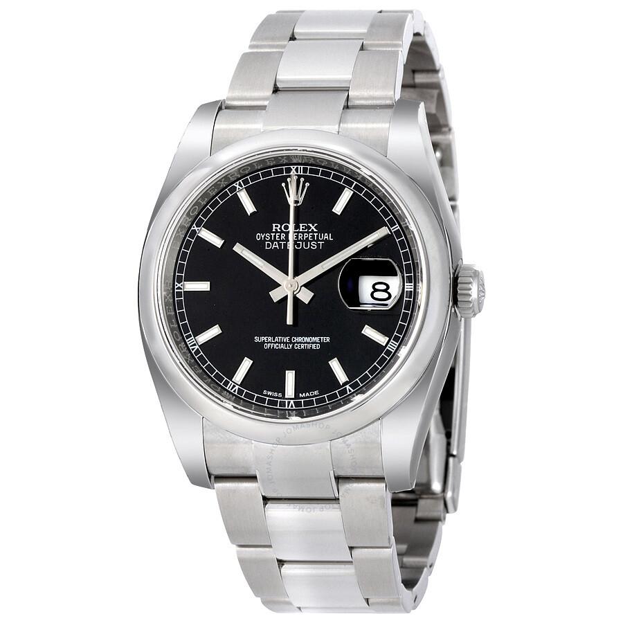 rolex datejust black index dial oyster bracelet men 39 s watch 116200bkso datejust rolex. Black Bedroom Furniture Sets. Home Design Ideas