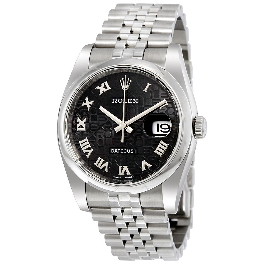 Rolex datejust 36 black dial stainless steel jubilee bracelet automatic men 39 s watch 116200bkjrj for Rolex date just 36