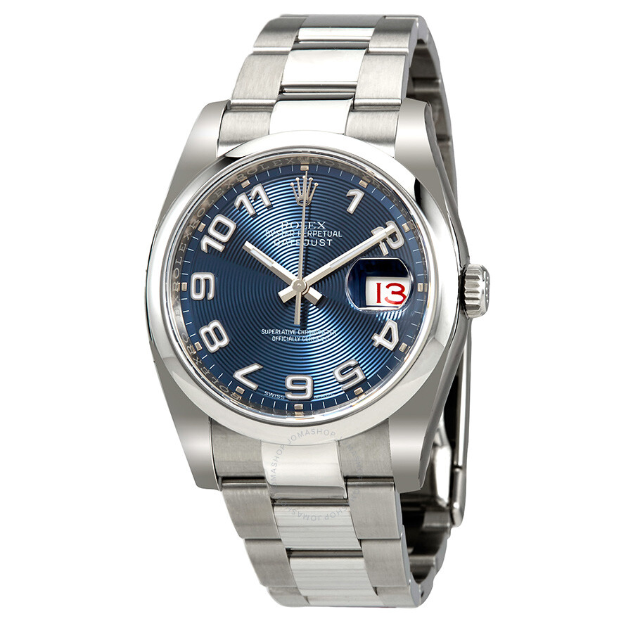 Rolex datejust 36 blue concentric dial stainless steel oyster bracelet automatic men 39 s watch for Rolex date just 36