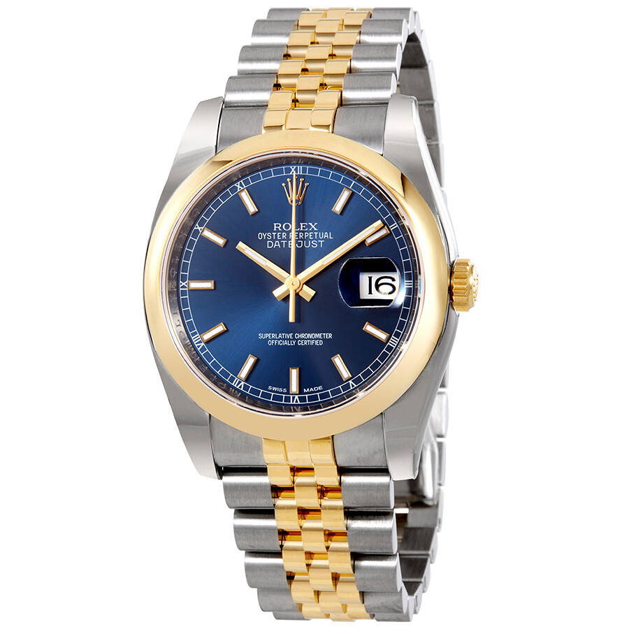 Rolex datejust 36 blue dial stainless steel and 18k yellow gold jubilee bracelet automatic men 39 s for Rolex date just 36
