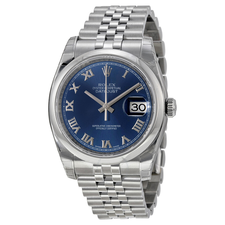 Rolex datejust 36 blue dial stainless steel jubilee bracelet automatic men 39 s watch 116200blrj for Rolex date just 36