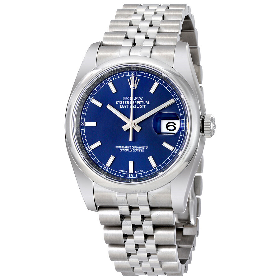 Rolex datejust 36 blue dial stainless steel jubilee bracelet automatic men 39 s watch 116200blsj for Rolex date just 36