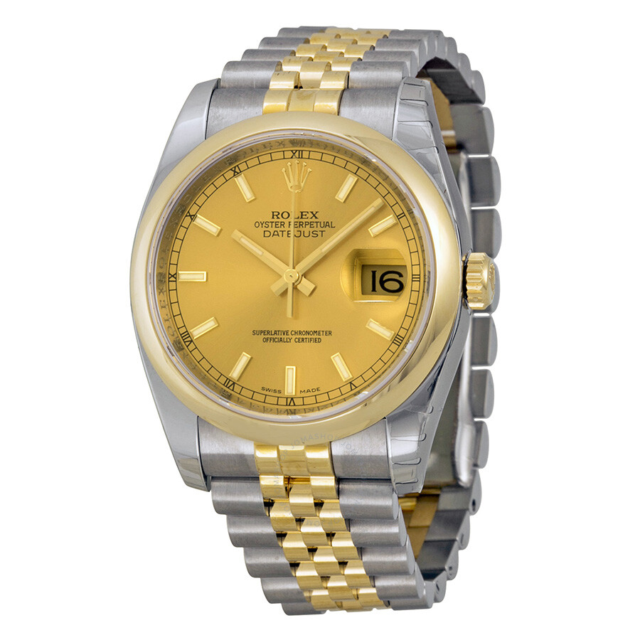 Rolex datejust champagne index dial jubilee bracelet two tone men 39 s watch 116203csj datejust for Jubilee watch