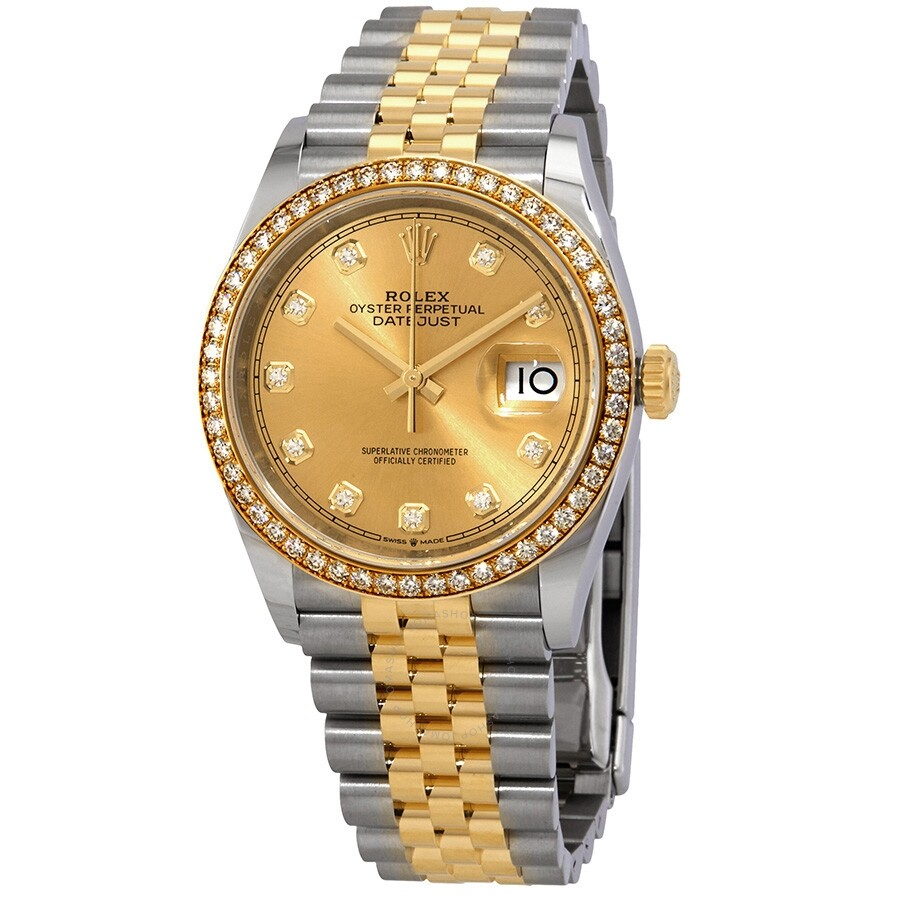 Rolex Datejust 36 Champagne Diamond Dial Steel and 18kt Yellow Gold Jubilee  Watch 126283CDJ