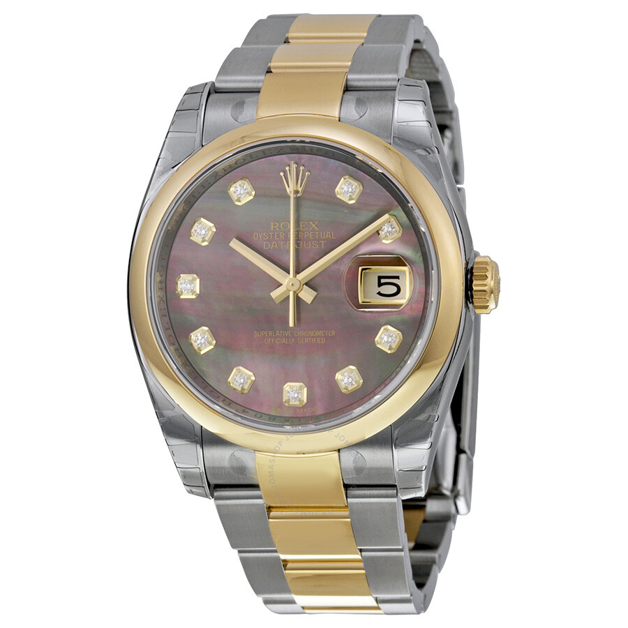 Rolex datejust 36 dark mother of pearl dial stainless steel and 18k yellow gold oyster bracelet for Rolex date just 36