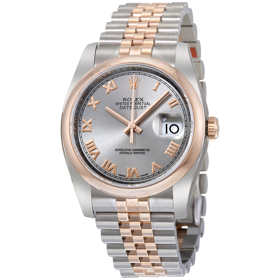 Rolex datejust 36 grey dial steel and 18k everose gold jubilee automatic men 39 s watch 116201gyrj for Rolex date just 36