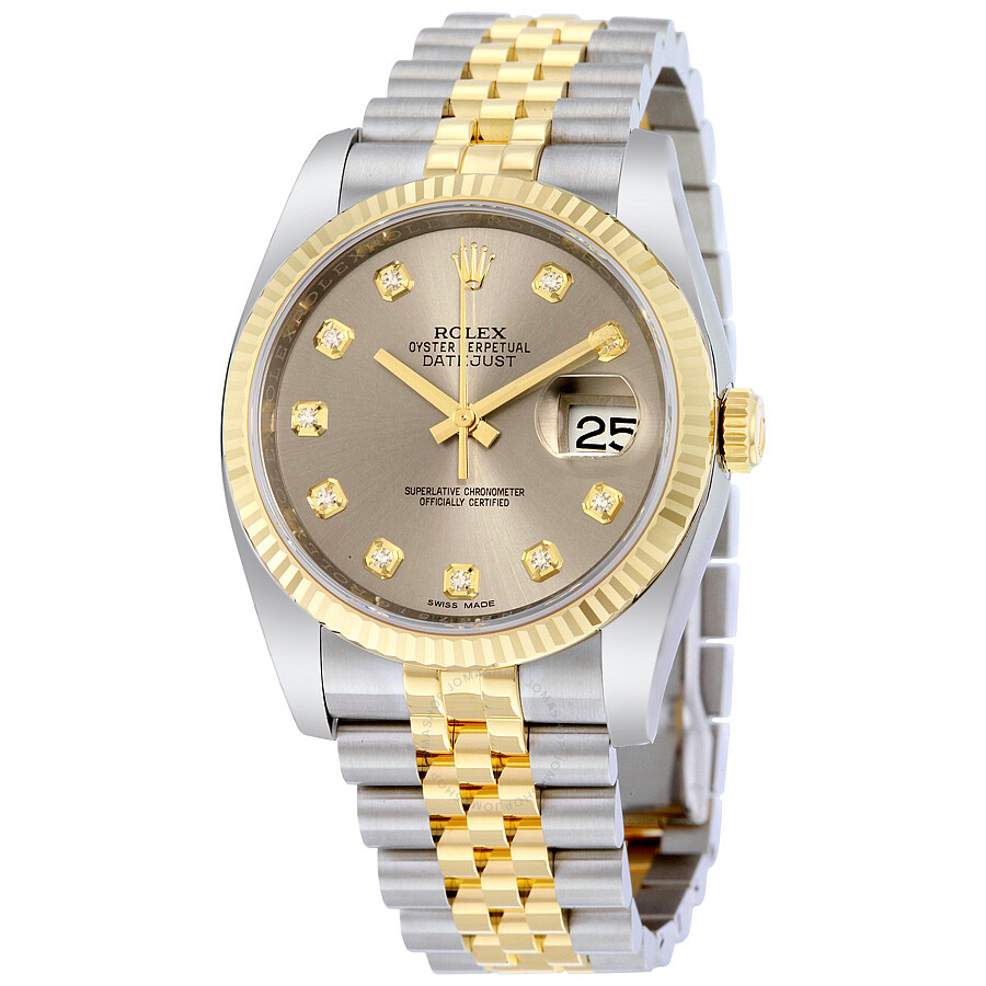 Rolex datejust 36 grey with 10 diamonds dial stainless steel and 18k yellow gold rolex jubilee for Rolex date just 36