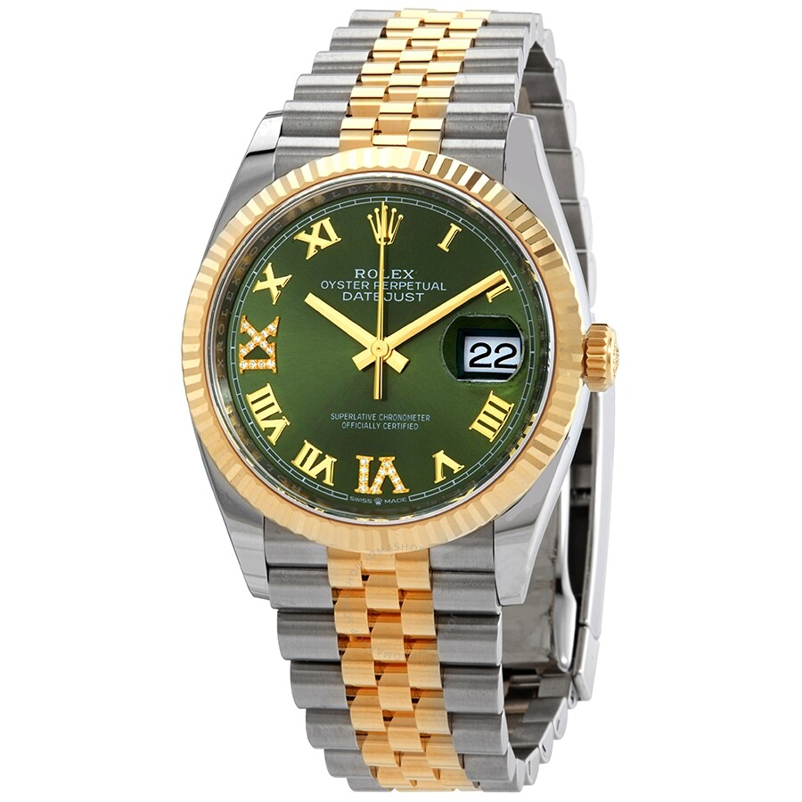 Rolex Datejust 36 Olive Green Diamond Dial Men\u0027s Stainless Steel and 18kt  Yellow Gold Jubilee Watch 126233GNRDJ