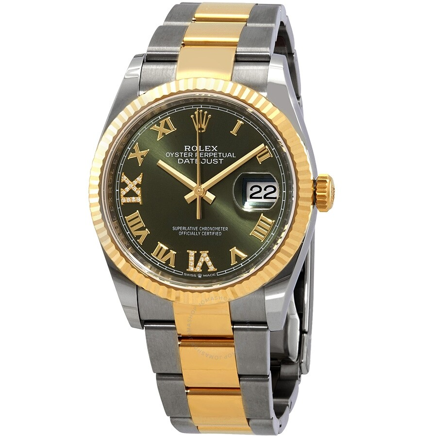Rolex datejust 36 olive green diamond dial men 39 s stainless steel and 18kt yellow gold oyster for Rolex date just 36