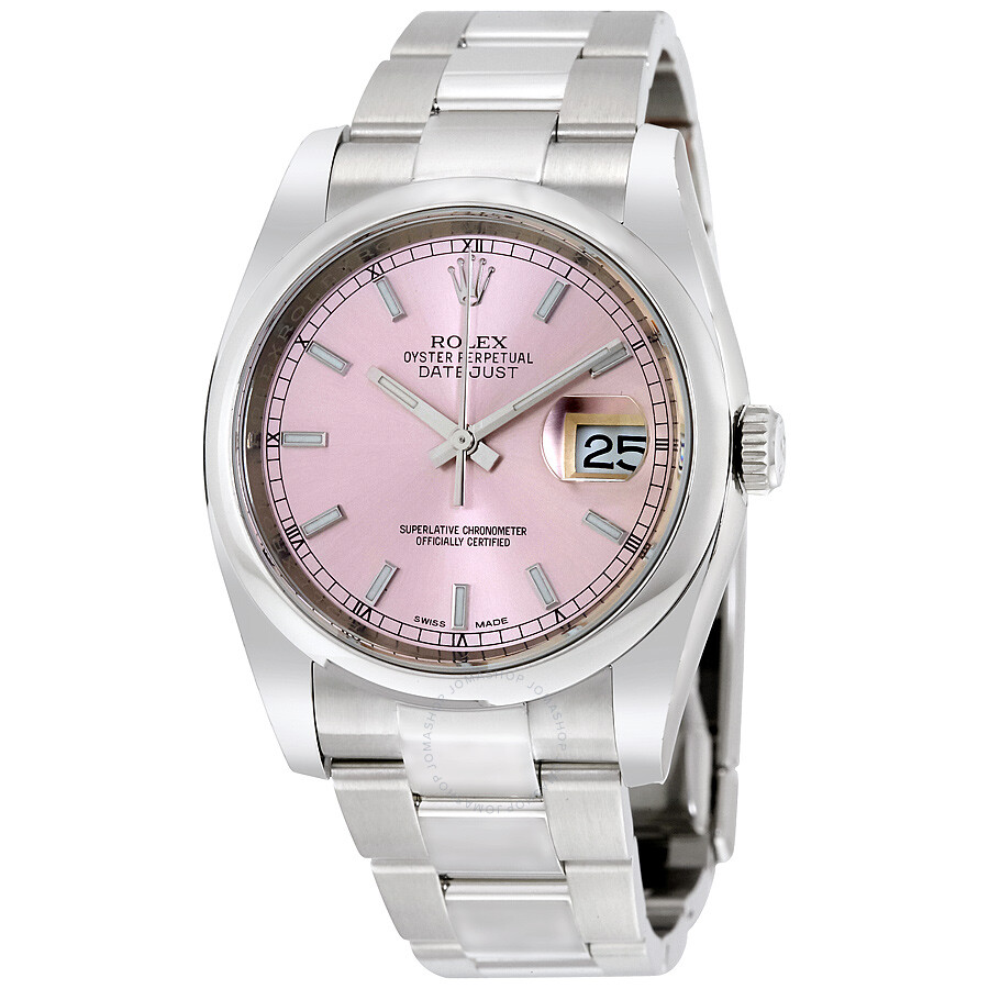 datejust-36-pink-dial-stainless-steel-oyster-bracelet-automatic-mens-watch by rolex