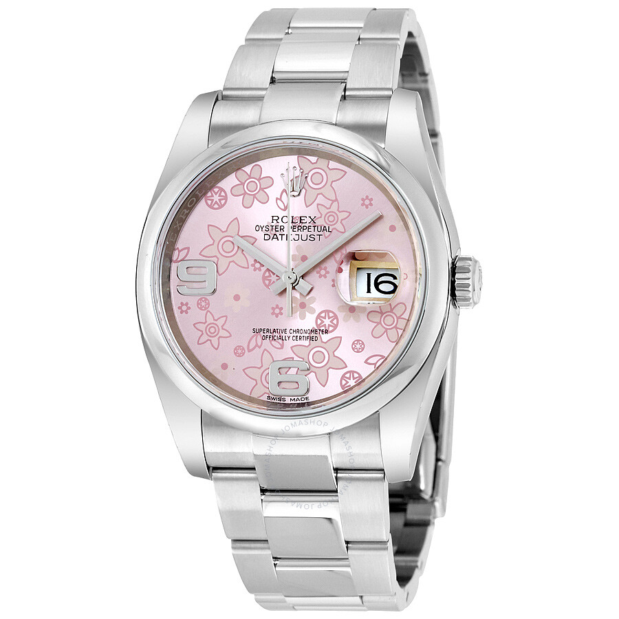 e1dd2af5b8e Rolex Datejust 36 Pink floral Dial Stainless Steel Oyster Bracelet Automatic  Unisex Watch 116200PFAO ...