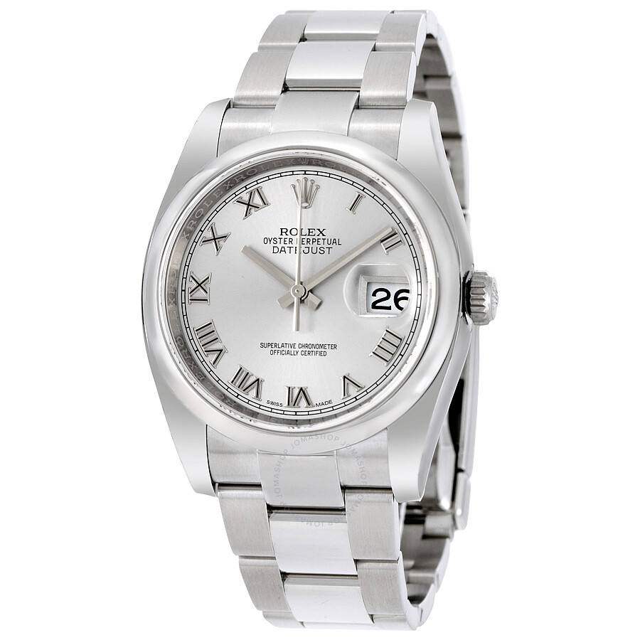 Rolex datejust 36 rhodium dial stainless steel oyster bracelet automatic men 39 s watch 116200rro for Rolex date just 36