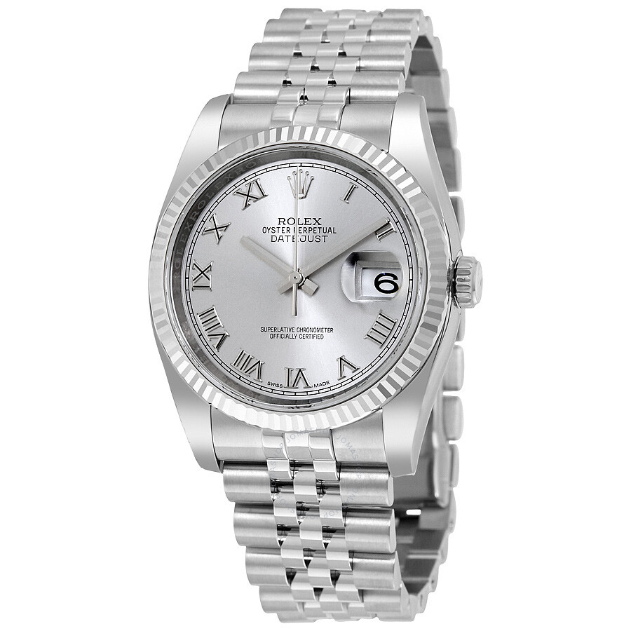 Rolex datejust 36 rhodium dial steel and 18k white gold men 39 s watch 116234rrj datejust rolex for Rolex date just 36