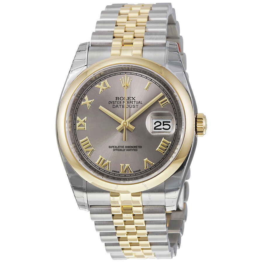 Rolex datejust 36 rhodium dial steel and 18k yellow gold jubilee men 39 s watch 116203rrj oyster for Rolex date just 36
