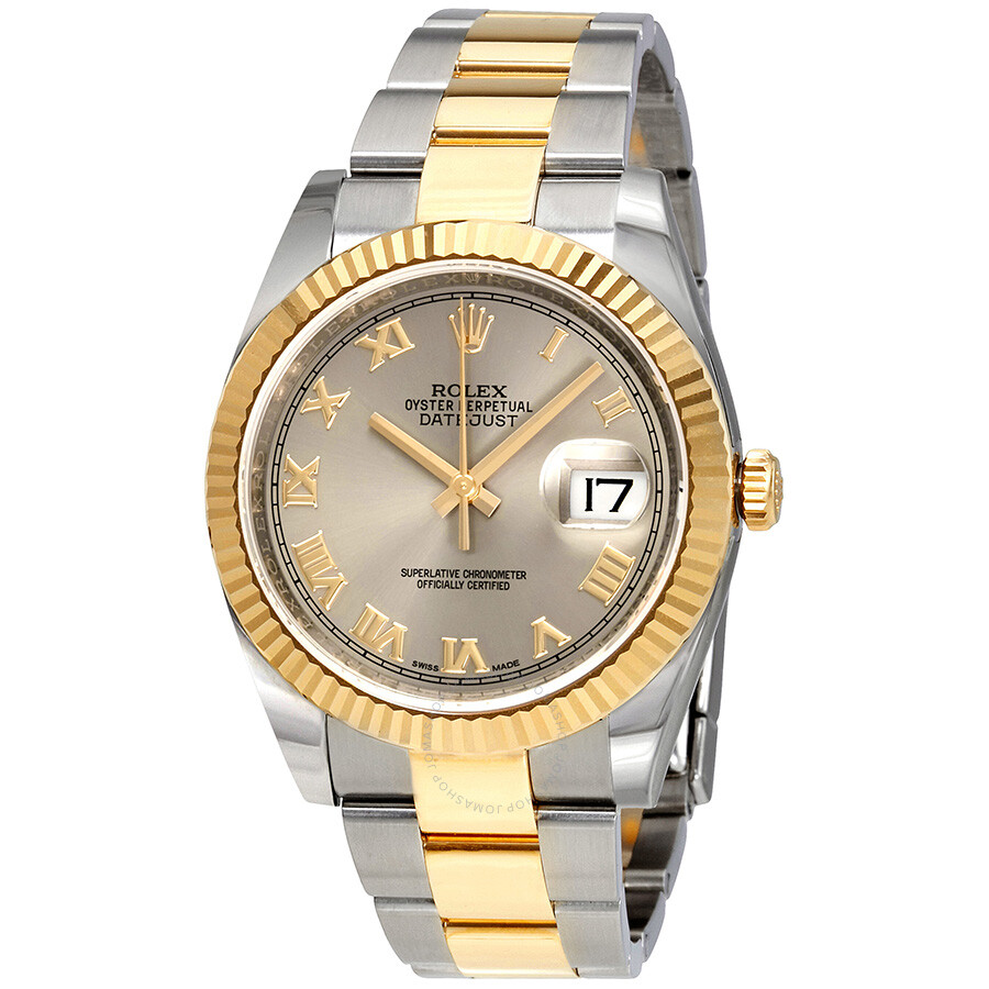 Rolex datejust 36 rhodium dial steel and 18k yellow gold men 39 s watch 116233rro oyster for Rolex date just 36