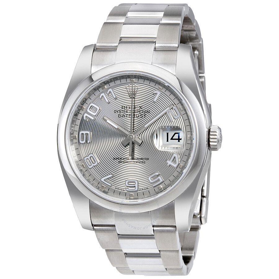 Rolex datejust 36 silver concentric dial stainless steel oyster bracelet automatic men 39 s watch for Rolex date just 36