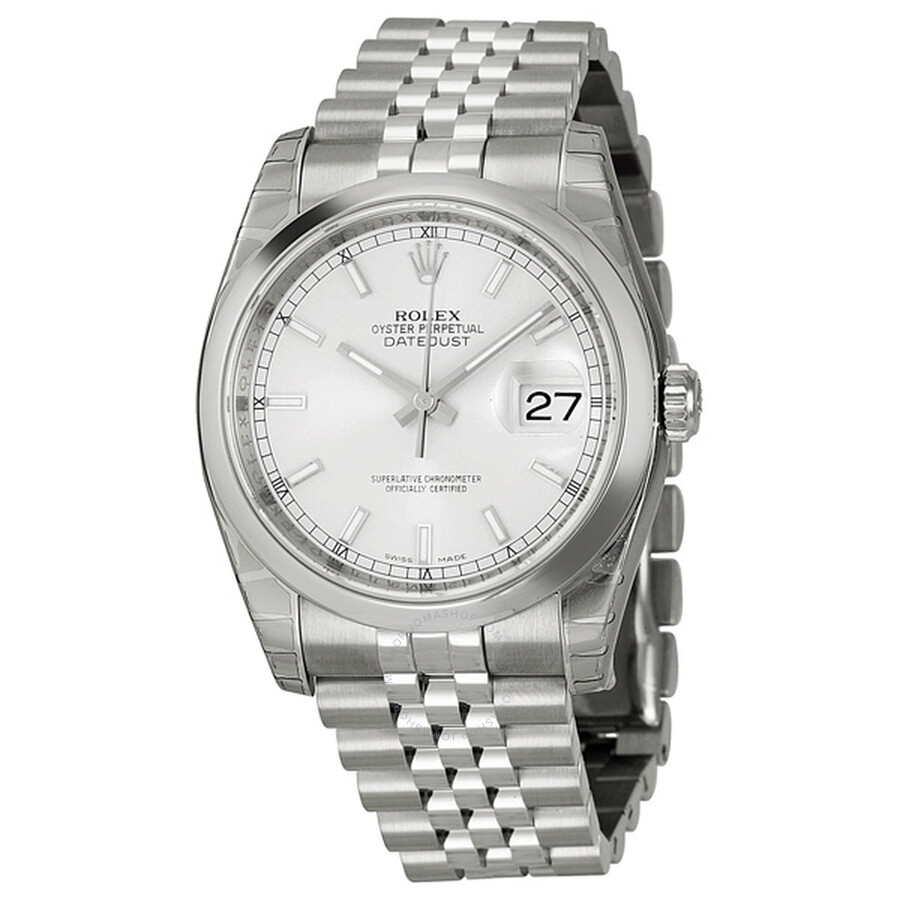 Rolex datejust 36 silver dial stainless steel jubilee bracelet automatic men 39 s watch 116200ssj for Rolex date just 36