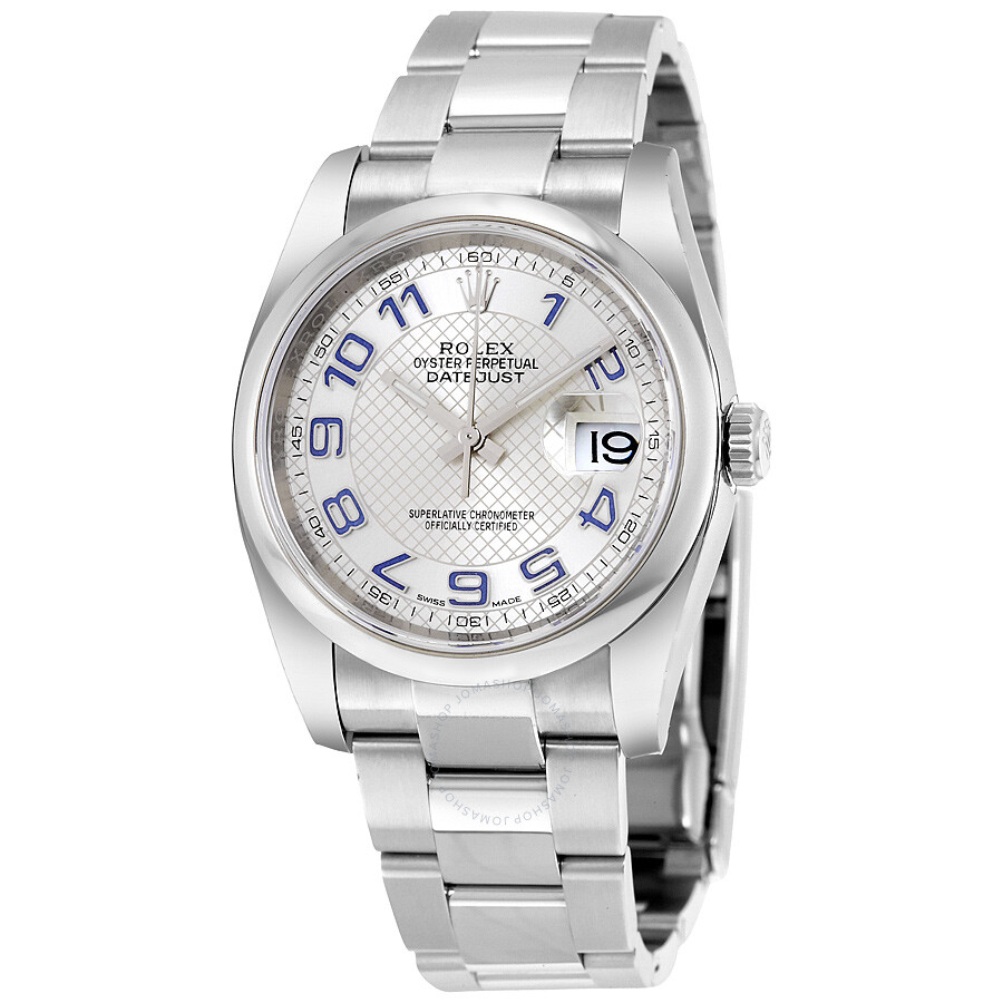 rolex datejust 36 silver dial stainless steel rolex oyster. Black Bedroom Furniture Sets. Home Design Ideas