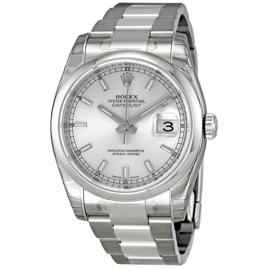 Rolex datejust 36 silver dial stainless steel oyster bracelet automatic unisex watch 116200sso for Rolex date just 36