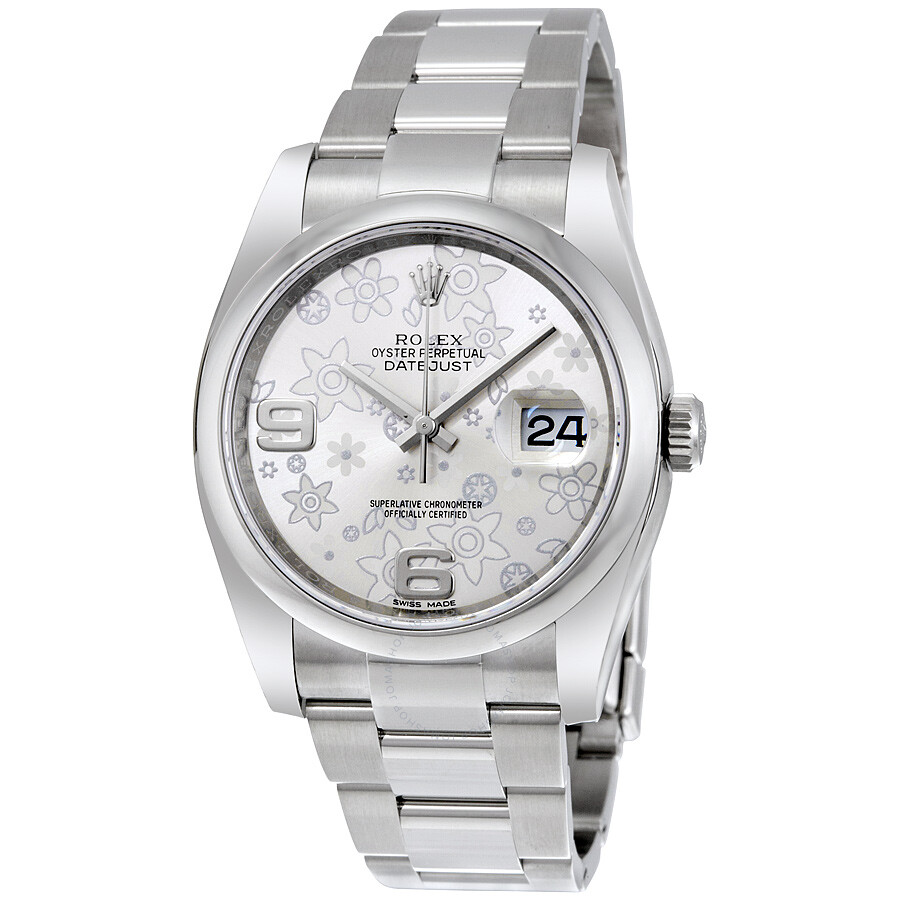 Rolex datejust 36 silver floral dial stainless steel oyster bracelet automatic ladies watch for Rolex date just 36