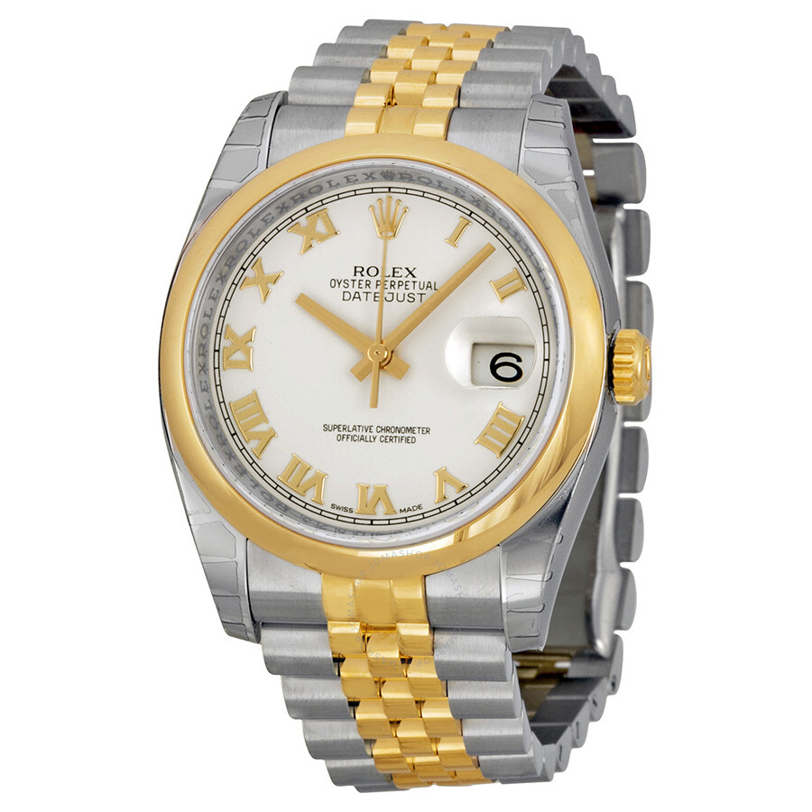 Rolex datejust 36 white dial stainless steel and 18k yellow gold jubilee bracelet automatic men for Rolex date just 36