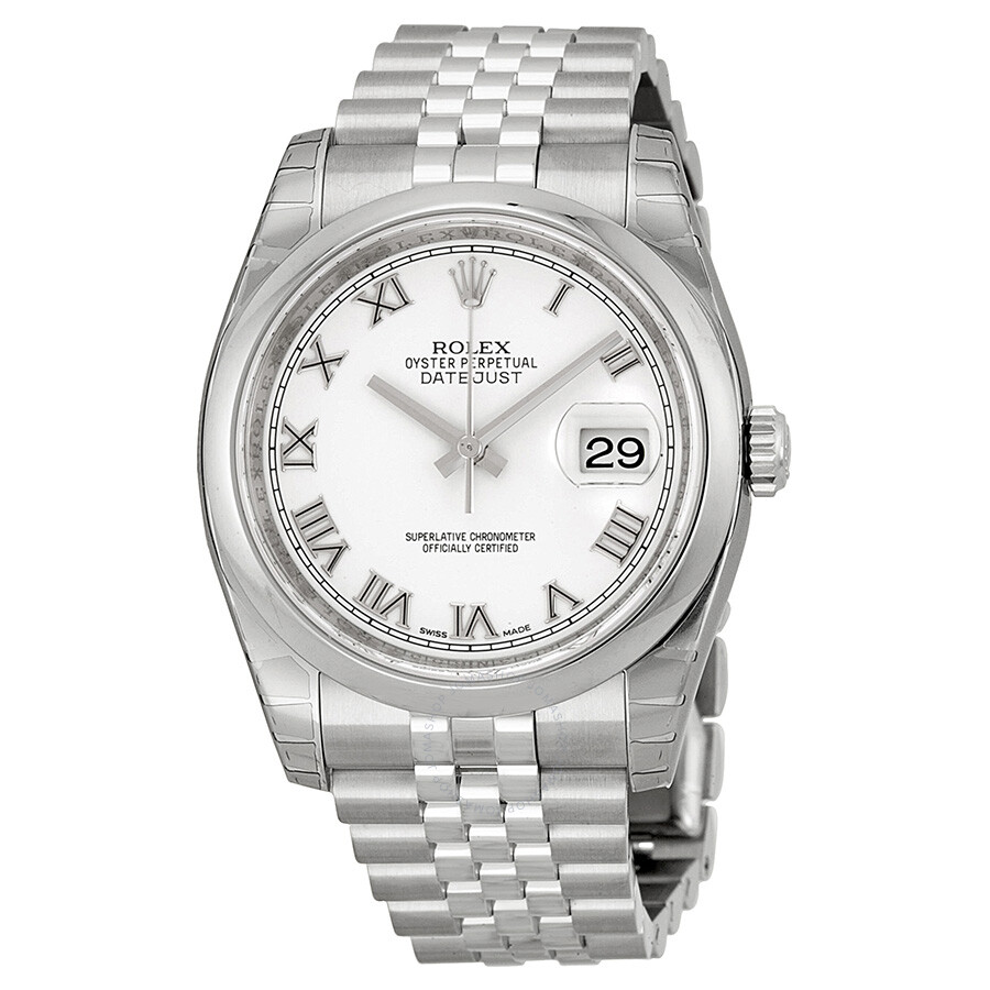 Rolex datejust white dial stainless steel jubilee