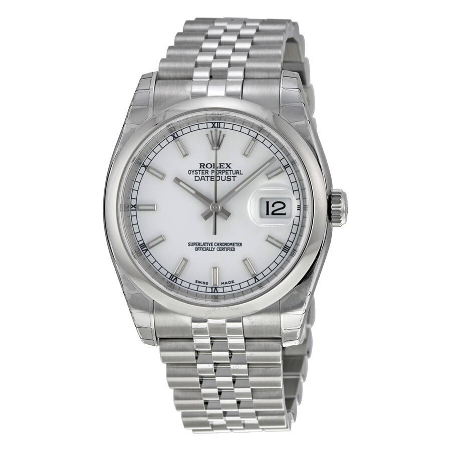 Rolex datejust 36 white dial stainless steel jubilee bracelet automatic men 39 s watch 116200wsj for Rolex date just 36