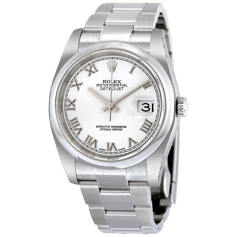 Rolex datejust white dial stainless steel oyster