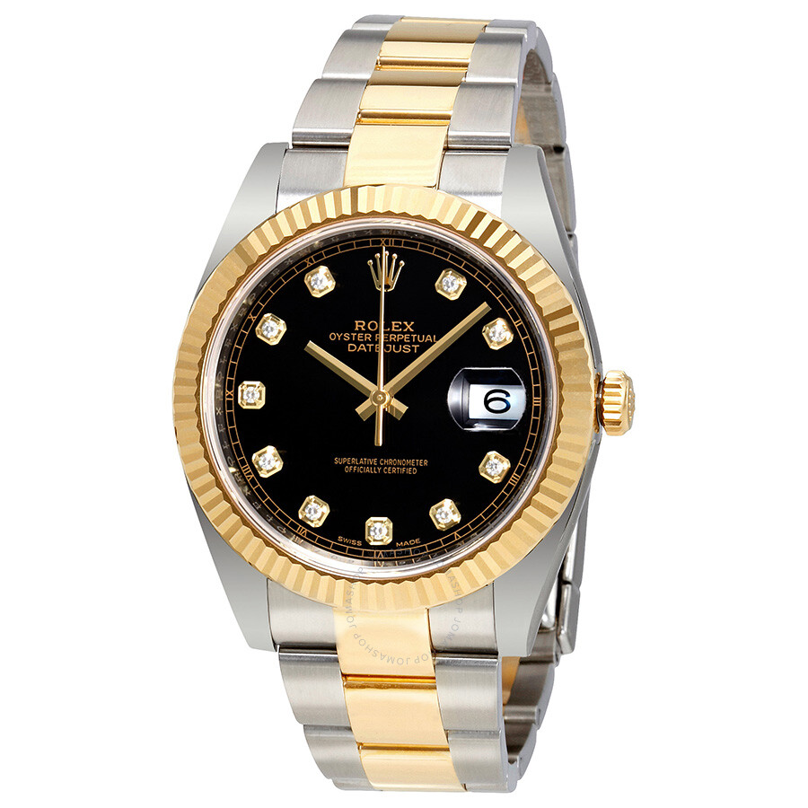 rolex datejust 41 black steel and 18k yellow