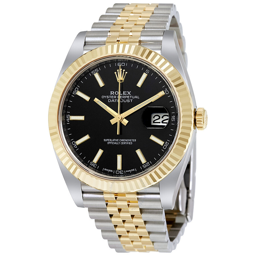 rolex datejust 41 black dial steel and 18k yellow gold jubilee rolex datejust 41 black dial steel and 18k yellow gold jubilee men s watch 126333bksj