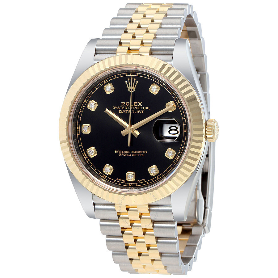 Rolex Datejust 41 Black Diamond Dial Stee and 18K Yellow ...