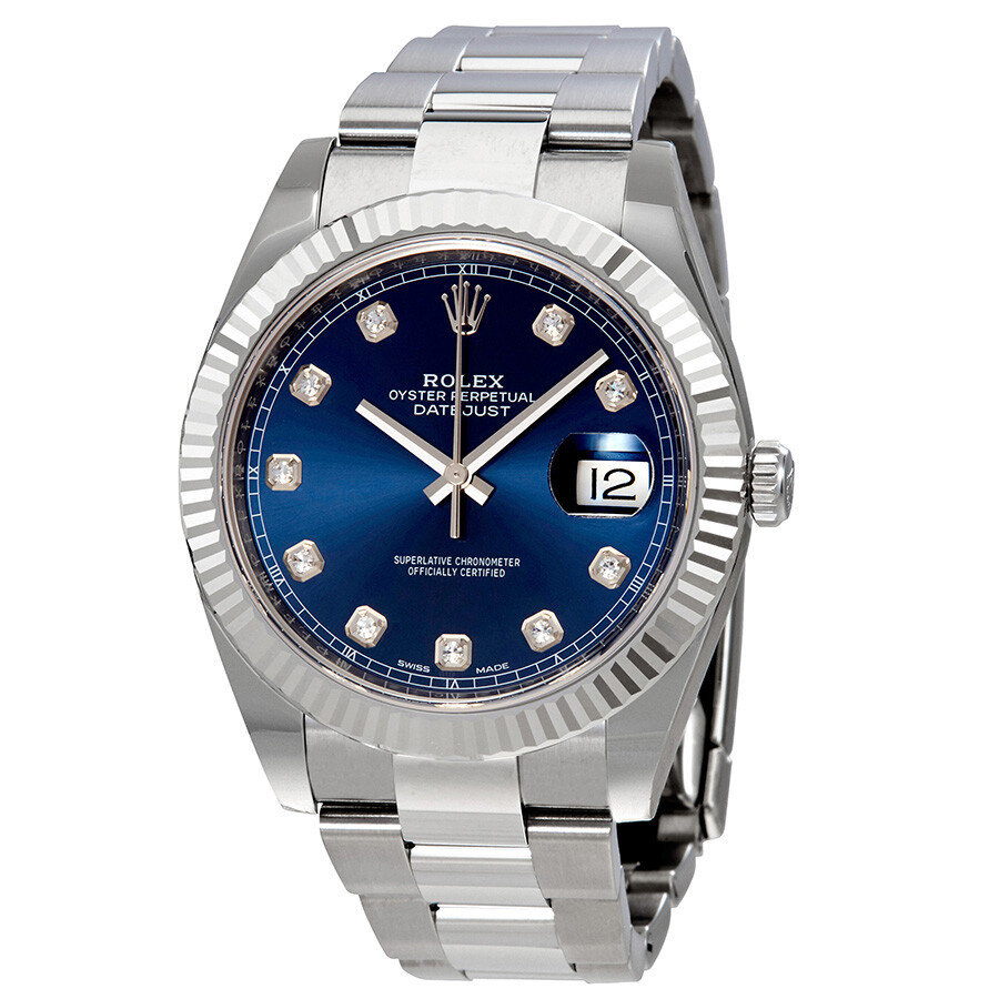 Rolex Datejust 41 Blue Diamond Dial Automatic Men S Watch 126334bldo