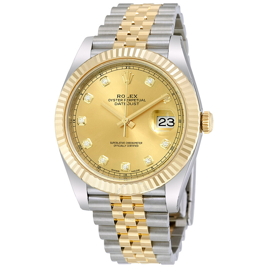 rolex datejust 41 champagne diamond steel and 18k yellow gold rolex datejust 41 champagne diamond steel and 18k yellow gold jubilee men s watch 126333cdj