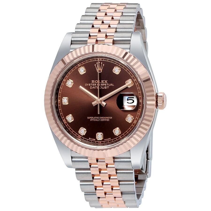 Rolex Datejust 41 Chocolate Diamond Dial Steel and 18K ...