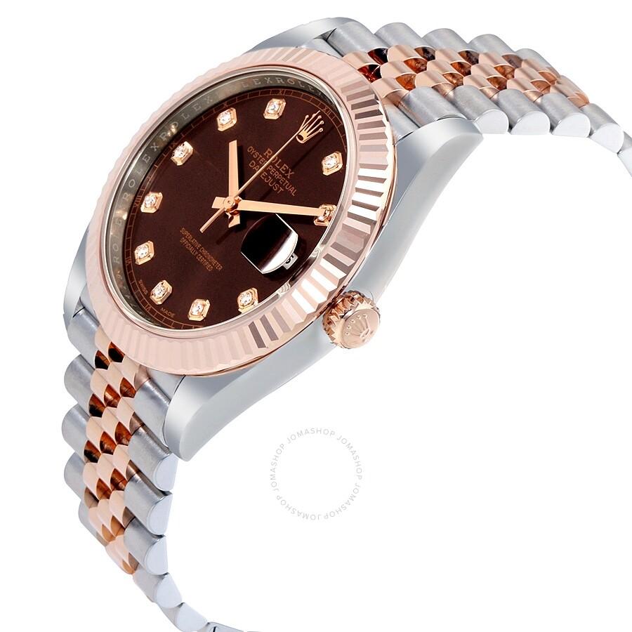 Rolex Datejust 41 Chocolate Diamond Dial Steel and 18K Everose ...