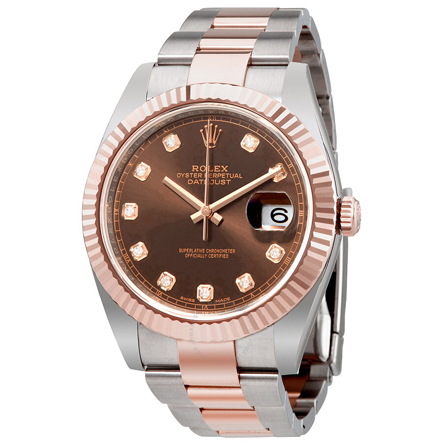 c39163055ebdb Rolex Datejust 41 Chocolate Diamond Dial Steel and 18K Everose Gold Oyster  Men's Watch 126331CHDO ...