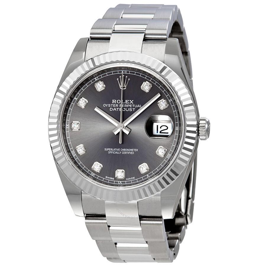 Rolex Datejust 41 Rhodium Diamond Dial Automatic Men\u0027s Watch 126334RDO