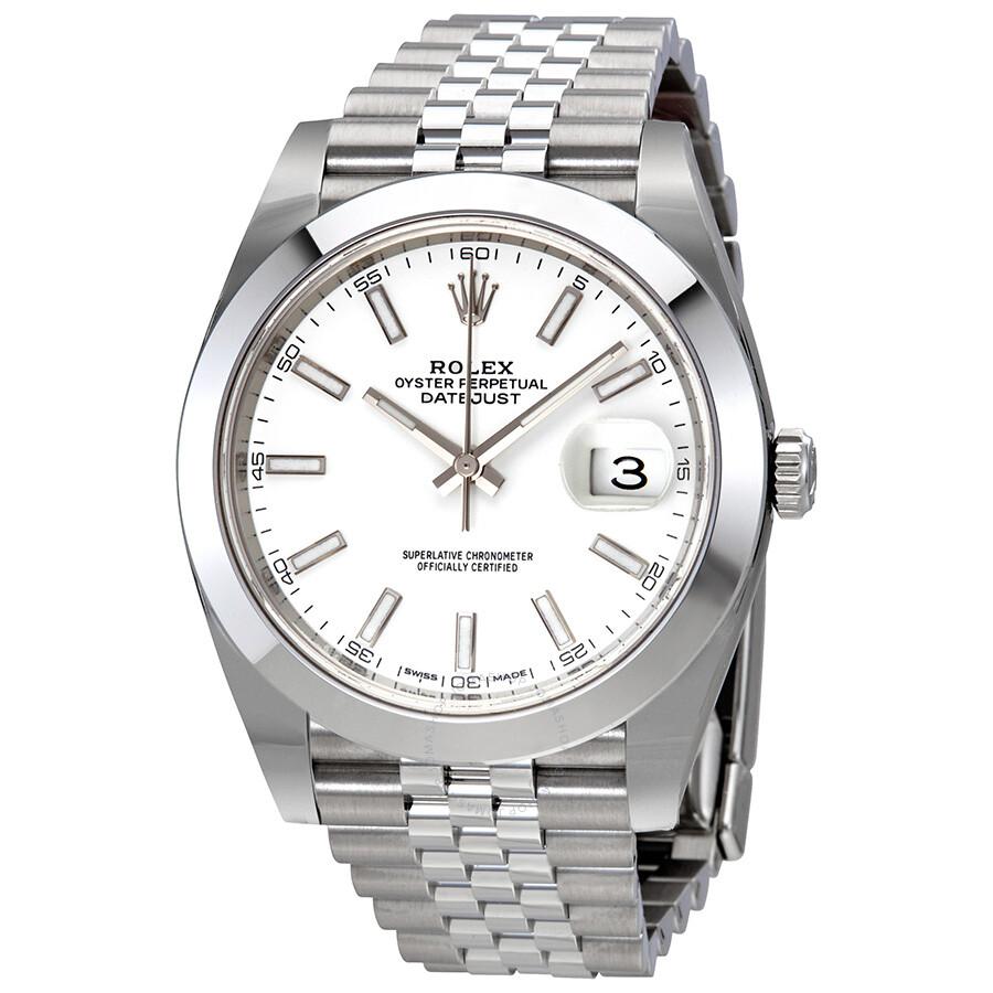 Rolex Datejust 41 White Dial Stainless Steel Jubilee Men\u0027s Watch 126300WSJ