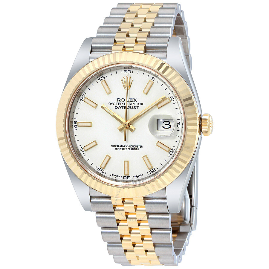 58becbe6699e Rolex Datejust 41 White Dial Steel and 18K Yellow Gold Jubilee Men s Watch  12633WSJ ...