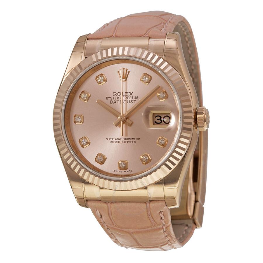 Rolex Datejust Pink Diamond Dial 18k Everose Gold