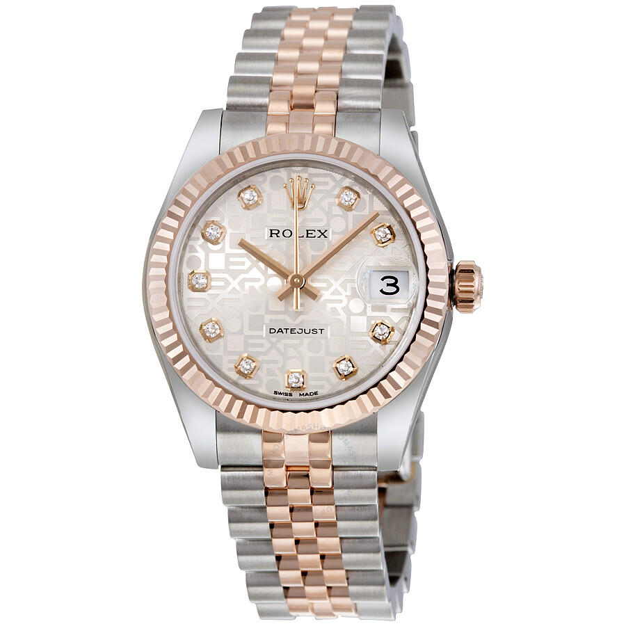 rolex datejust automatic stainless steel and 18kt rose