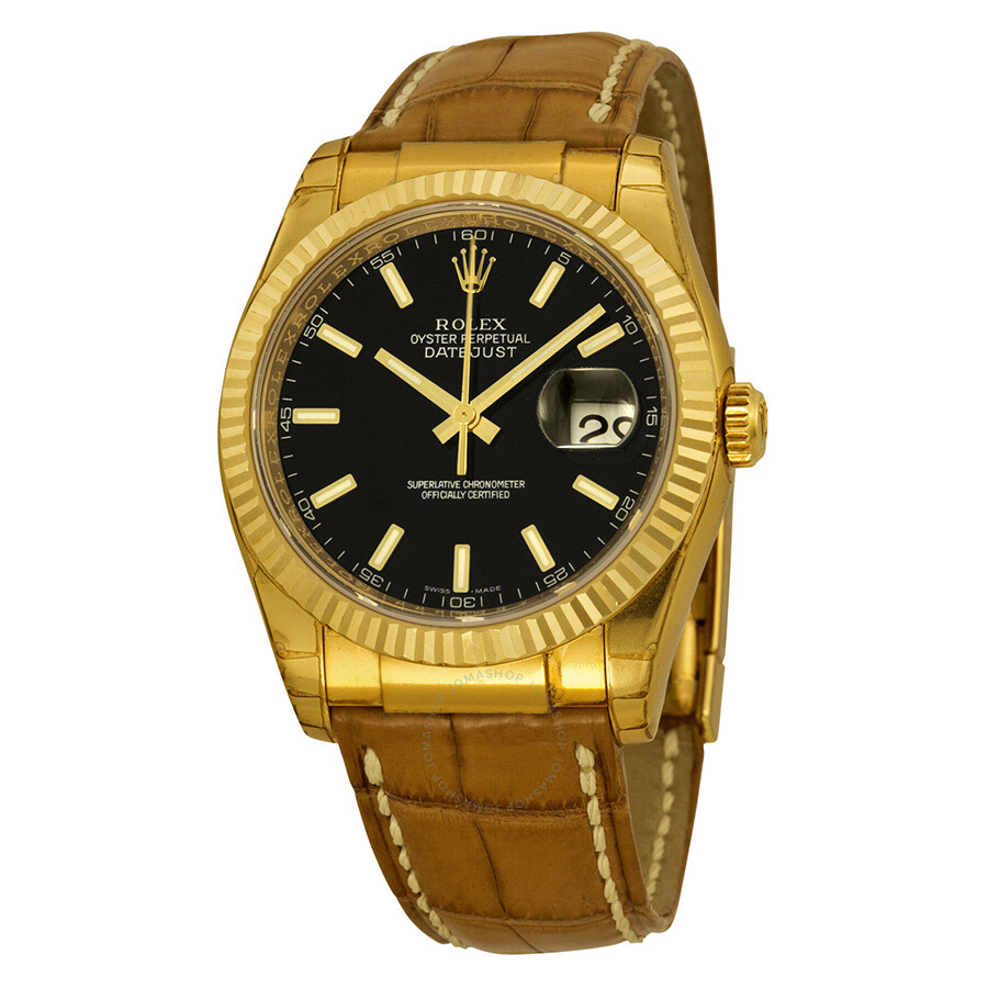 rolex datejust black 18kt yellow gold brown leather