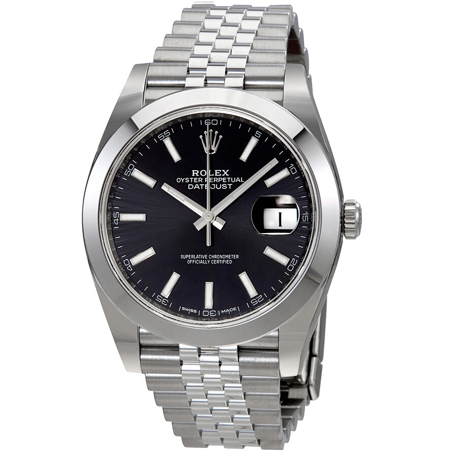 rolex datejust black dial automatic men 39 s jubilee watch 126300bksj datejust rolex watches